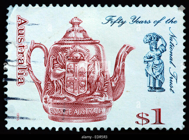 Used and postmarked Australia / Austrailian Stamp $1 1995 fifty 50 year sof the national trust advance Australia - Stock Image