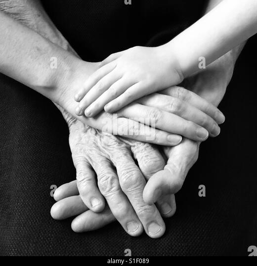 Love Across Three Generations - Stock Image