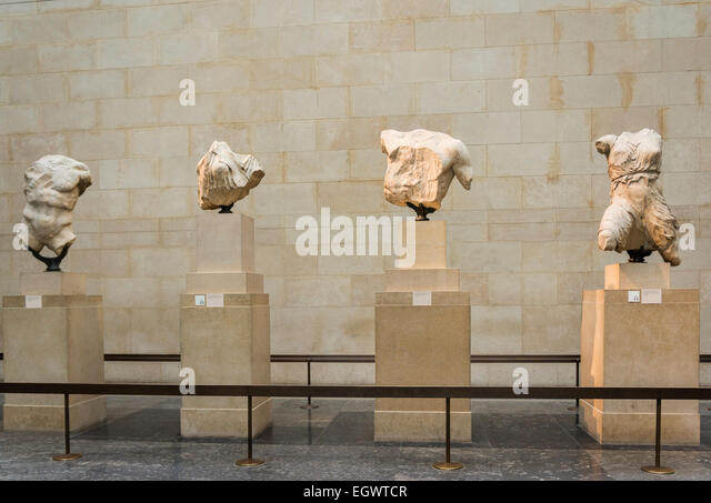 The Elgin Marbles in the British Museum, London, England, UK - Stock Image