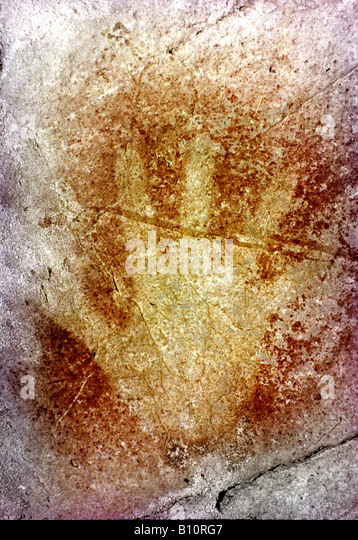 Hand cave painting Magdalenian 15000 BC Altamira Spain Copyright: AAA Collection Ltd - Stock-Bilder