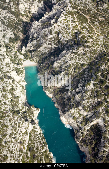 France, Bouches du Rhone, Marseille, Calanque d'En Vau (aerial view) (Calanques National Park since 2012/04/18) - Stock Image