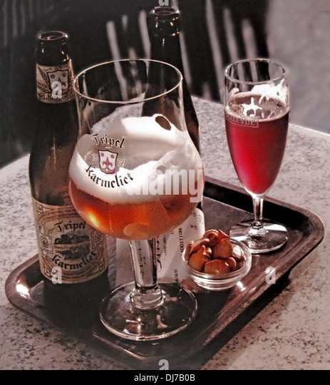 A tray of Belgian beers Karmelite in bottle and Framboise - Stock Image