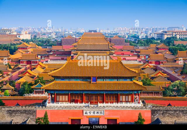 Beijing, China city skyline at the Forbidden City. - Stock Image