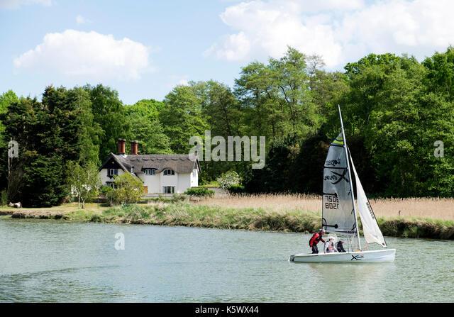 Sailors under instruction, river Deben, Melton, Suffolk, England. - Stock Image