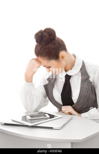 Woman with many gadgets - Stock Image