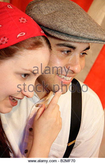 Indiana Valparaiso Chicago Street Theatre Assassins characters drama man woman actor performer play stage costume - Stock Image