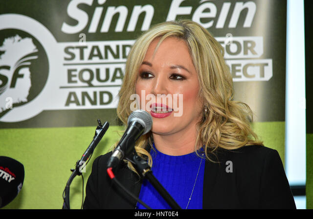 Armagh City, UK. 15th February 2017. Sinn Féin Party leader Michelle O'Neill Answer's Media questions - Stock Image
