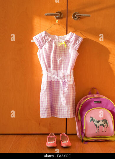 preparing clothes for first day of school - Stock Image