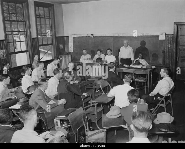 Local United Mine Workers Union meeting on Sunday morning in a schoolhouse. Sept 22, 1946. The men worked at the - Stock-Bilder