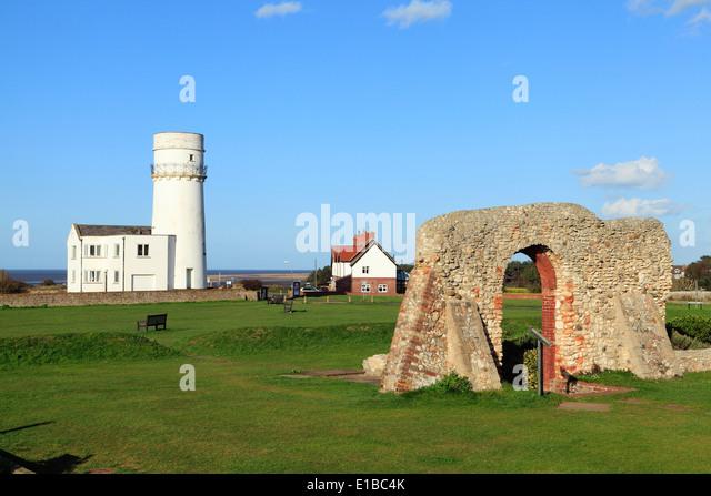 Lighthouse and St. Edmunds Chapel remains, Old Hunstanton  Norfolk England English North Sea coast coasts coastal - Stock Image