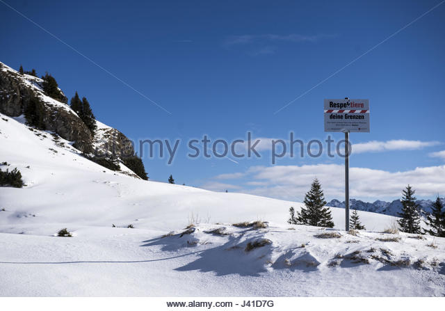 Active nature conservation in the mountains, signs in the countryside, Vorarlberg, Austria - Stock Image