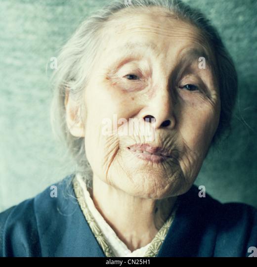 Senior Japanese woman, portrait - Stock Image