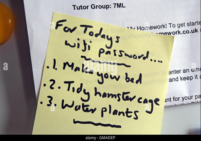 Home WiFi chores, needed to be done, on a PostIt - Stock Image