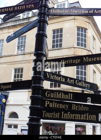 Bath tourist attractions signs - Stock-Bilder