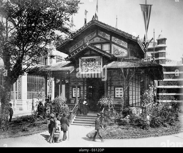 Pavilion of Hawaii, Paris Exposition, 1889 - Stock Image
