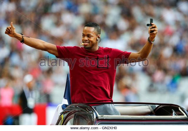 Saint Denis, France. 27th Aug, 2016. French hurdler Dimitri Bascou parades in the Stade de France on August 27, - Stock Image