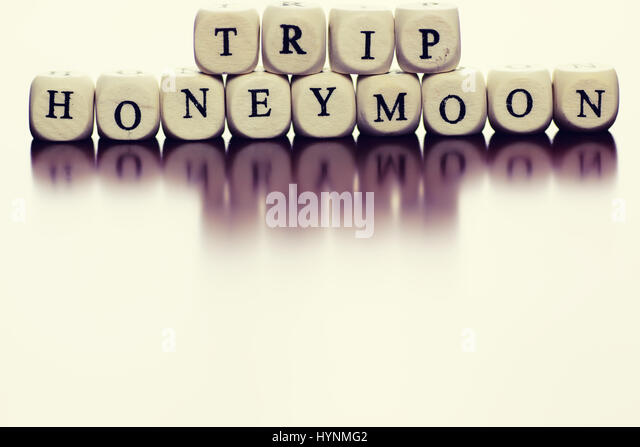 text cube travel honeymoon - Stock Image