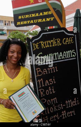 Curaçao Netherlands Antilles Dutch Willemstad Punda De Ruyterkade Surinaams Restaurant sign Suriname cuisine - Stock Image