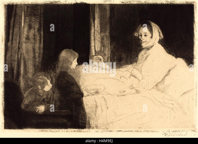Albert Besnard, French (1849-1934), The Sick Mother (La mère malade), 1889, etching - Stock-Bilder