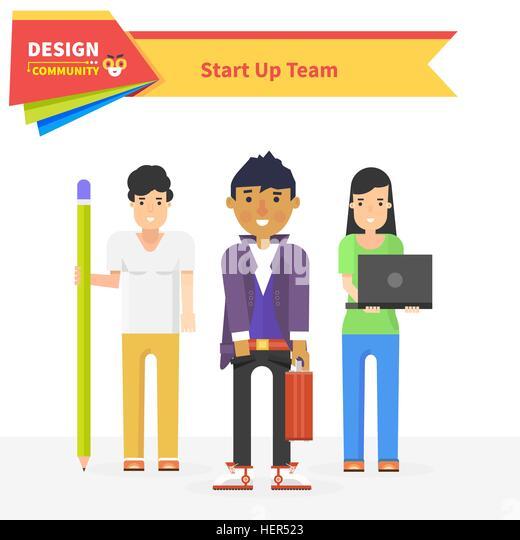 Start up team design community. Startup business, entrepreneur and start team, star up small business, start up - Stock-Bilder