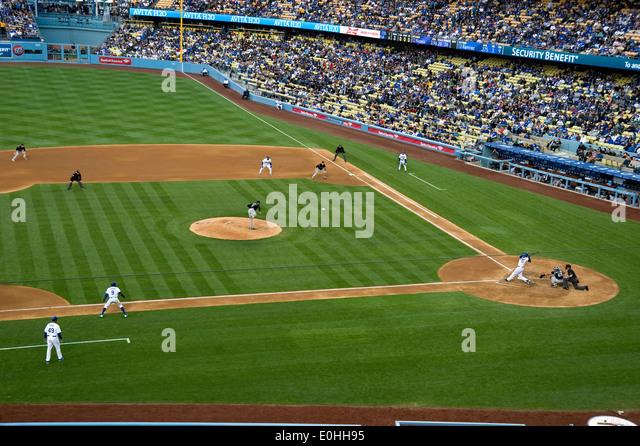Baseball game  at Dodger Stadium. - Stock Image