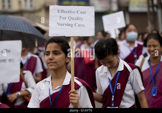 Kathmandu. 12th May, 2016. Students of nursing participate in a rally on the International Nurses Day in Kathmandu, - Stock Image