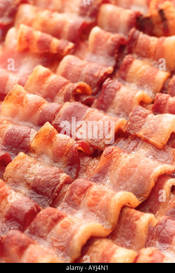 fried bacon background - Stock Image