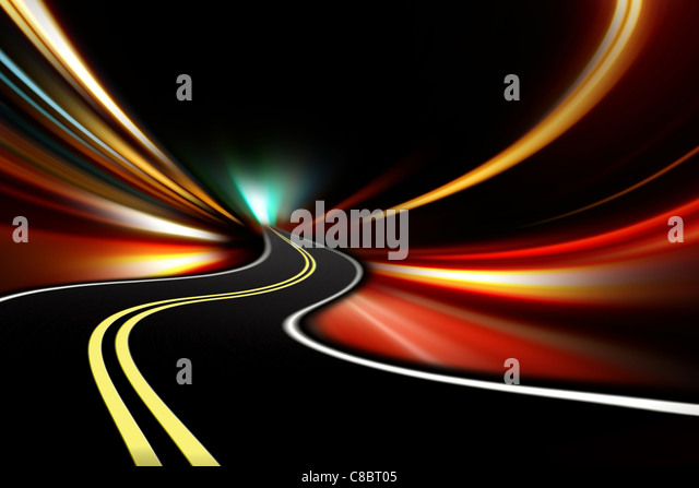 abstract night highway - Stock Image