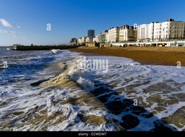 Brighton beach, East Sussex, UK, looking west - Stock Image
