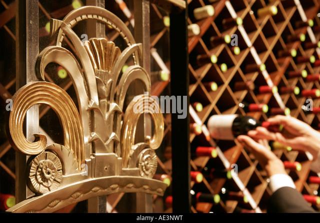 Ohio Cincinnati Hilton Netherland Plaza Orchids at Palm Court Restaurant wine vault Art Deco design - Stock Image