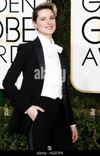 Los Angeles, California, USA. 08th Jan, 2017. Beverly Hills, Us. 08th Jan, 2017. Evan Rachel Wood arrives at the - Stock Image