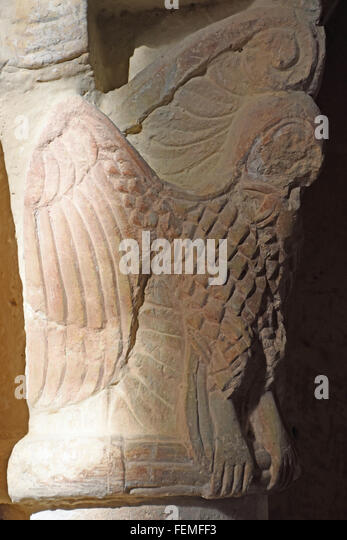 Owl capital, Eglise de Groute Gers - Stock Image