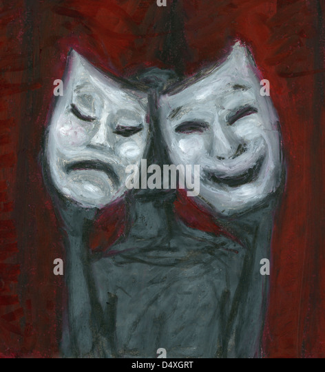Faceless holding pair of sad and happy emotion masks at theater. - Stock Image