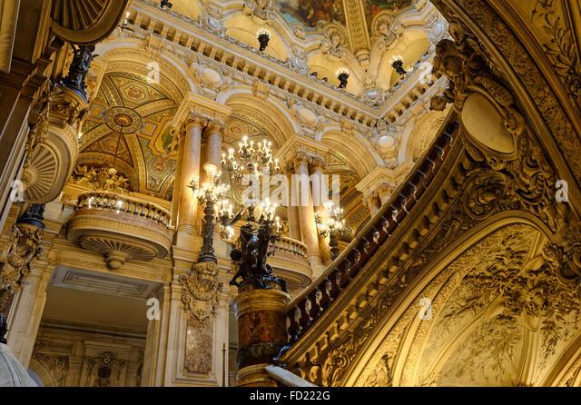 Opera Garnier, Grand Staircase, Paris, France - Stock Image