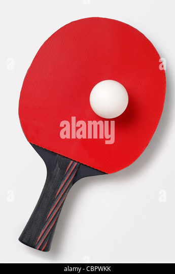 Table Tennis Bat and Ball, Cut Out. - Stock Image