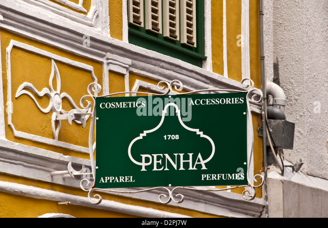 Penha green sign sign on the historic Penha building (1708) on the Curacao waterfront Willemstad - Stock Image