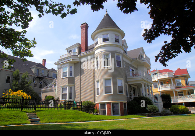 Maine Portland Casco Bay Eastern Promenade house home historic - Stock Image