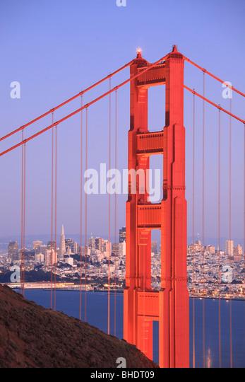Golden gate Bridge and San Francisco Skyline viewed at dusk - Stock Image