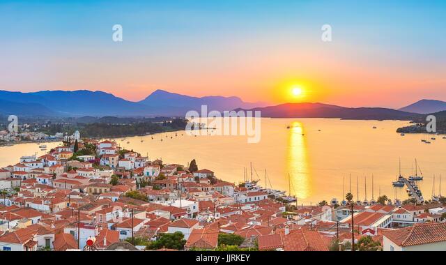 Sunset in Greece, Poros - Stock Image