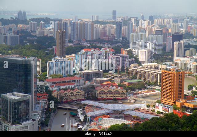 Singapore city skyline skyscrapers aerial Singapore River Clarke Quay Riverside Point high-rise condominium apartment - Stock Image