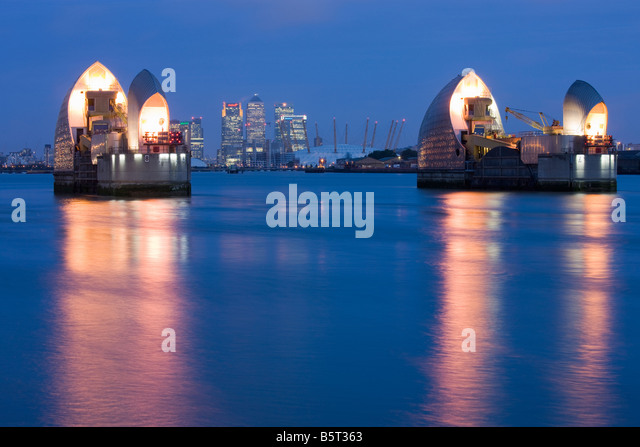 UK London Canary wharf viewed from the Thames Barrier - Stock Image