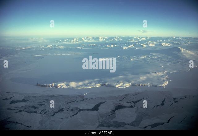 Aerial view Antarctic coastline and Transantarctic Mountains Early spring Terra Nova Bay Cape Washington Mount Melbourne - Stock Image