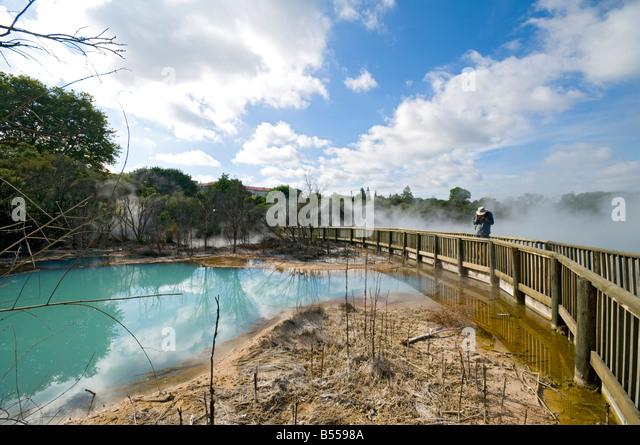 Geothermal springs in Kuirau Park, Rotorua, North Island, New Zealand - Stock Image