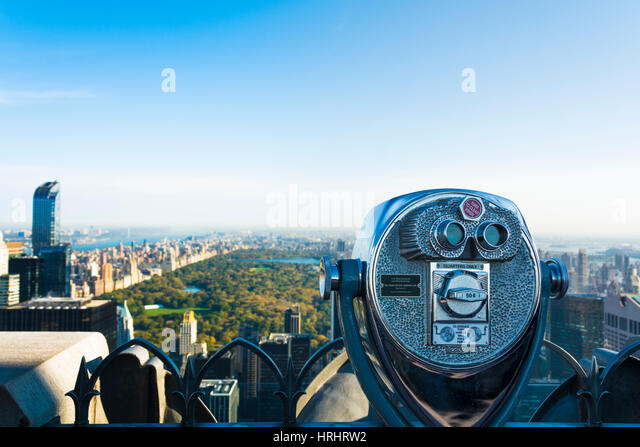 The viewing platform overlooking Central Park from the Rockefeller Tower, New York City, United States of America, - Stock-Bilder