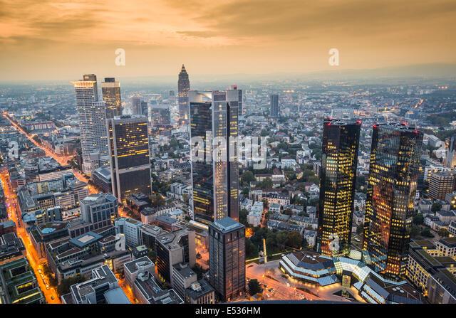 Frankfurt, Germany Cityscape at night. - Stock Image