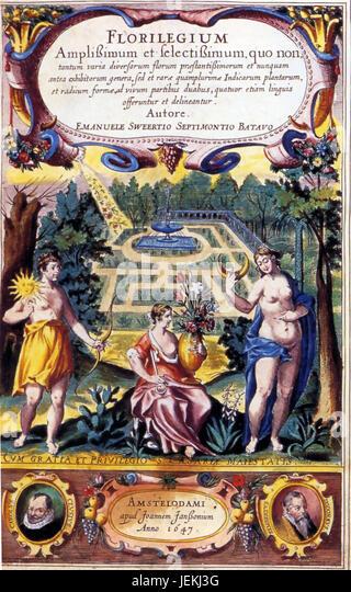 EMANUEL SWEERT (1552-1612) Dutch horticultualist and painter. Frontispiece of 'Florilegium Amplissimum et Selectissimum' - Stock-Bilder