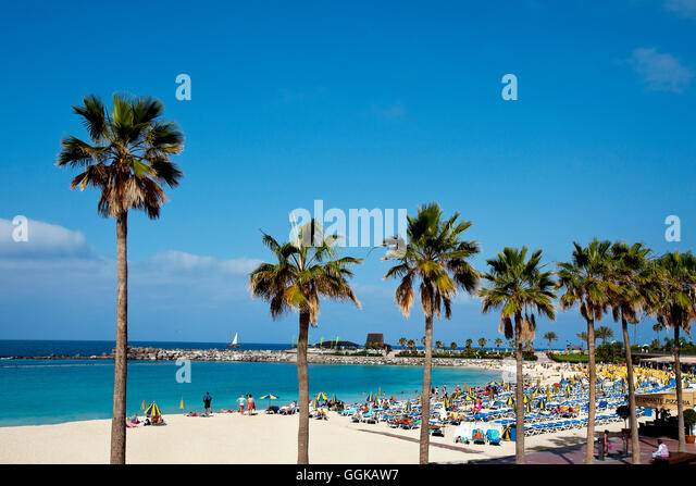 Beach at Playa Amadores, Puerto Rico, Gran Canaria, Canary Islands, Spain - Stock Image
