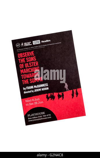 2016 promotional flyer for Observe the Sons of Ulster Marching Towards the Somme by Frank McGuinness at the Liverpool - Stock Image