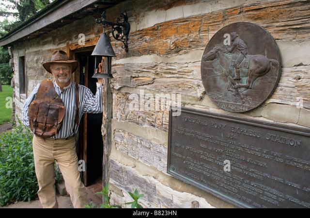 AN ORIGINAL PONY EXPRESS STATION (1854) CAN BE SEEN IN GOTHENBURG, NEBRASKA. - Stock Image