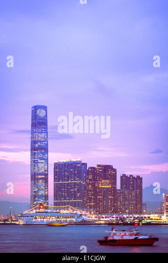 Kowloon side of Hong Kong Victoria Harbour. - Stock Image